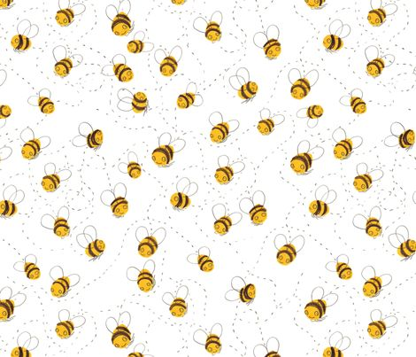 Busy Buzzy Bumble Bees Fabric By Jo Clark On Spoonflower