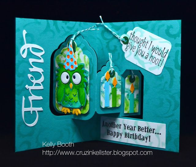 Kelly Booth using the Pop it Ups Tags Pivot Card, Poppy the Owl and Props 2 die sets by Karen Burniston for Elizabeth Craft Designs. - Lovin The Life I Color
