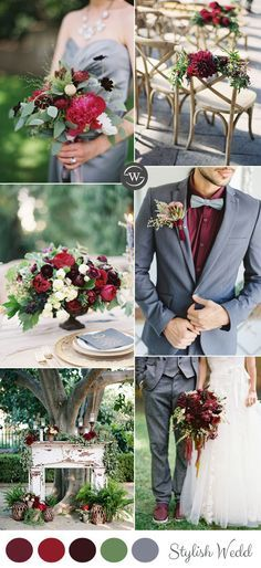 burgundy and grey spring and summer wedding colors inspiration
