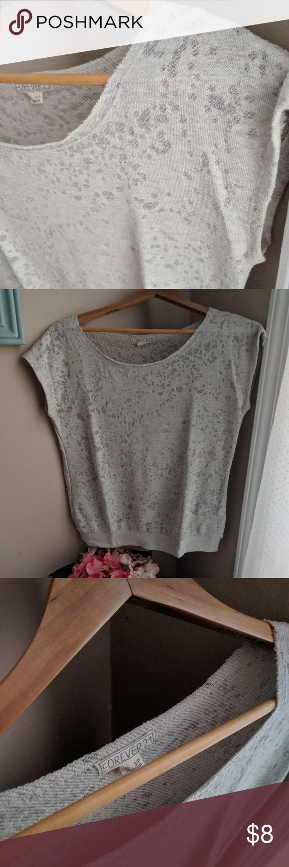 Forever 21 Terry Cloth Short Sleeve Top Cute, comfy, and casual! This soft, neutral shirt is almost sleeveless-has very short sleeves-and in excellent used condition. Fabric has some variation to it but is still opaque if worn with a light to medium colored bra. Forever 21 Tops