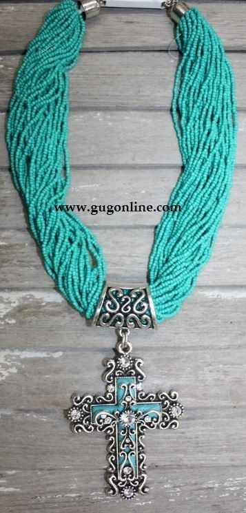 Giddy Up Glamour - Turquoise Seed Bead Necklace and Cross