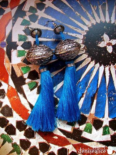 Moroccan Silver Tassels Earrings_Turquoise