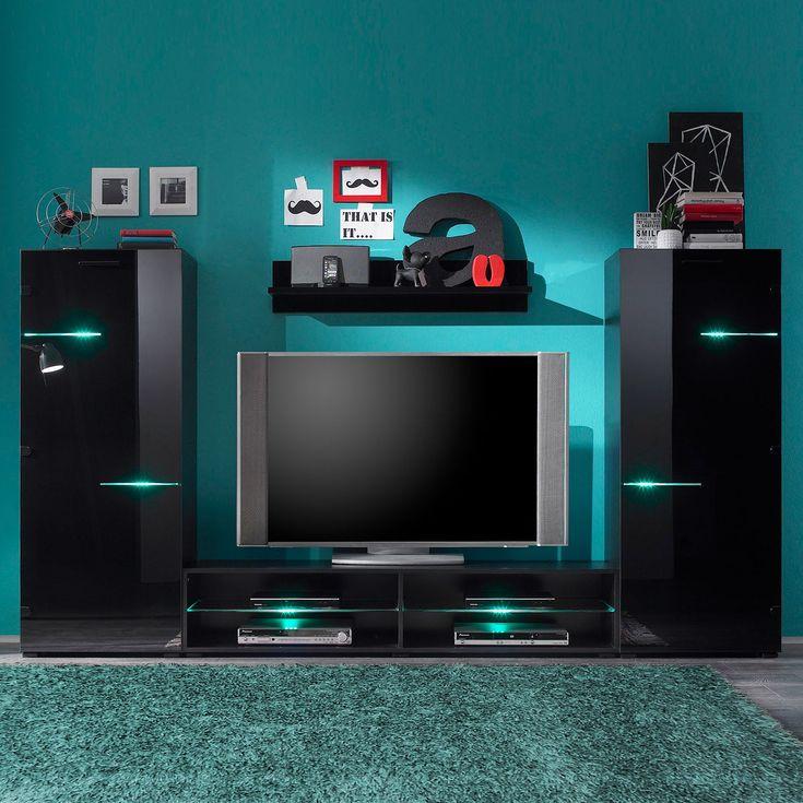 Lovely EEK A Wohnwand Blackbox teilig inklusive Beleuchtung Hochglanz Schwarz mooved Jetzt bestellen unter https moebel ladendirekt de wohnzimmer