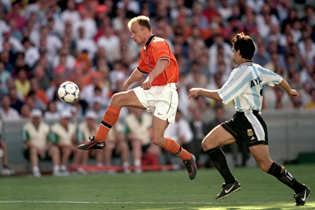 As a young lad, this was mesmorising from one of the best players I have ever seen. Dennis Bergkamp, also known as the Iceman, killed a 50 yard raking pass from Frank De Boer, nutmegged the onrushing defender Roberto Ayala, and caressed the ball with the outside of his right boot high into the corner of the net. Poise and precision in the last minute of extra time in a World Cup game made me click my clogs.