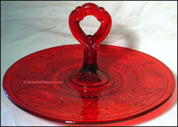 red depression glass server - Google Search