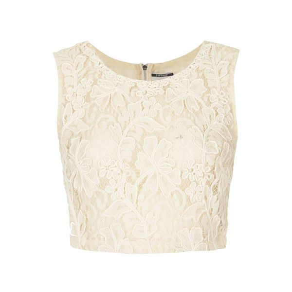 TOPSHOP Cornelli Crop Top (250 BRL) ❤ liked on Polyvore featuring tops, shirts, crop tops, blusas, cream, strappy top, cream crop top, white cotton shirt, white top and cotton shirts
