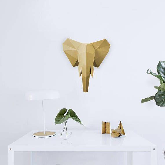 Elefante de Origami de pared 3D: formato no precreased cola