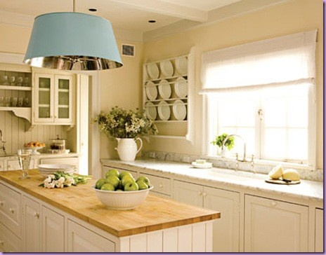 Love country kitchensButcher Block, Lights Fixtures, Kitchens Ideas, Plates Racks, Butcherblock, Country Kitchens, White Cabinets, Block Islands, White Kitchens