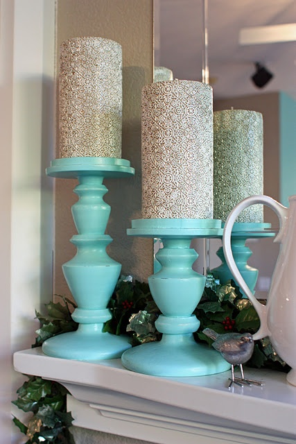 Aqua and glittery silver candles