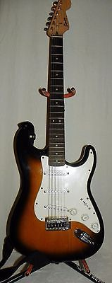 Fender Squier Bullet Strat Brown Sunburst Electric Guitar w Amp Stand Case