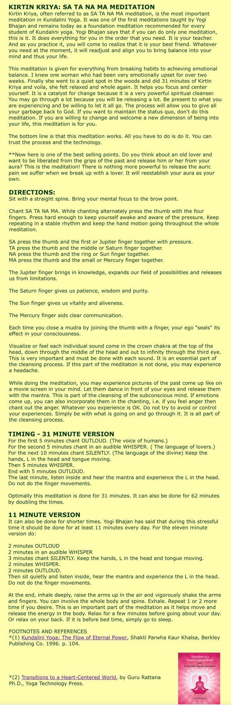 """Kundalini Yoga - Free On-Line Training Lesson 15 - Kirtan Kriya, for Evolutionary Change..... by another pinner: """"Does anyone know the sa ta na ma chant? I learned it in a conference and it cleared my sinuses on the spot. I di it when I am going to sleep at night because it relaxes me. It is sounds and fingers going at the same time. The Alzheimer's Association uses it with their people."""""""