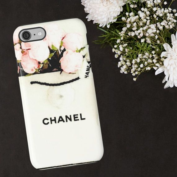 Chanel Phone Case Chanel Shopping Bag Watercolor by ChezLorraines