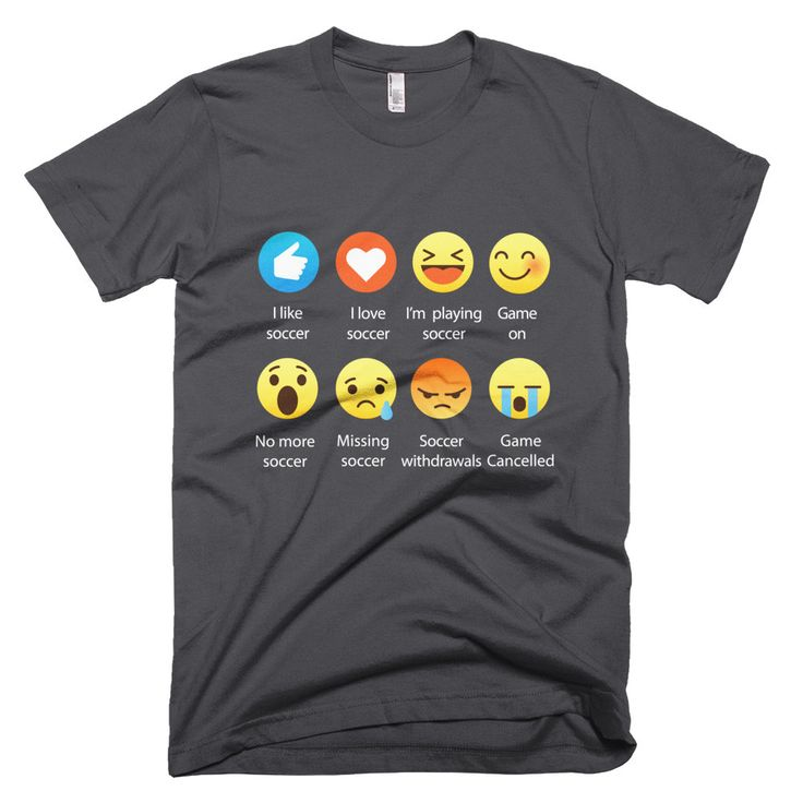 Original DesIndie Designed, I Love Soccer Emoticon (emoji) Social Icons Saying for your Soccer Fans, Soccer Players, Soccer lover, Soccer Team, or just as a gift - Relaxed Fit T-Shirts.  ----------------------------------------------------------------------------------------------------   Select your Size and color, submit your order, and well process and print it within 48 business hours to then ship out to you quickly.  All dark color materials will come with a printed WHITE font, whereas…