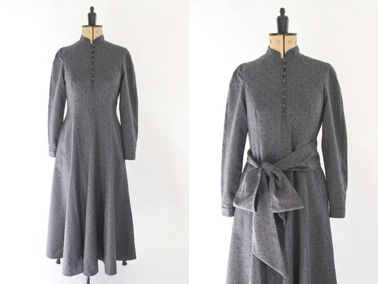 Victorian Style Dress • 80s Vintage Dress • Polka Dot Dress • Winter Dress • Steampunk Dress • Grey Maxi Dress • Wool Dress with Sleeves. M by Venelle on Etsy