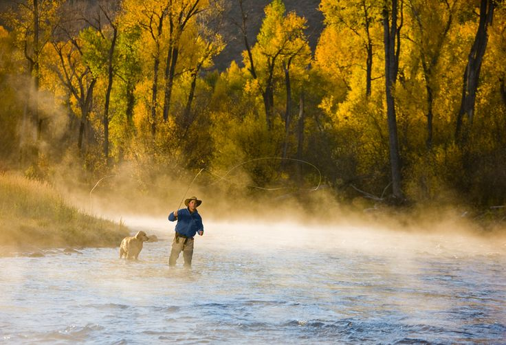 Fly fishing on the Roaring Fork River in Carbondale,Colorado