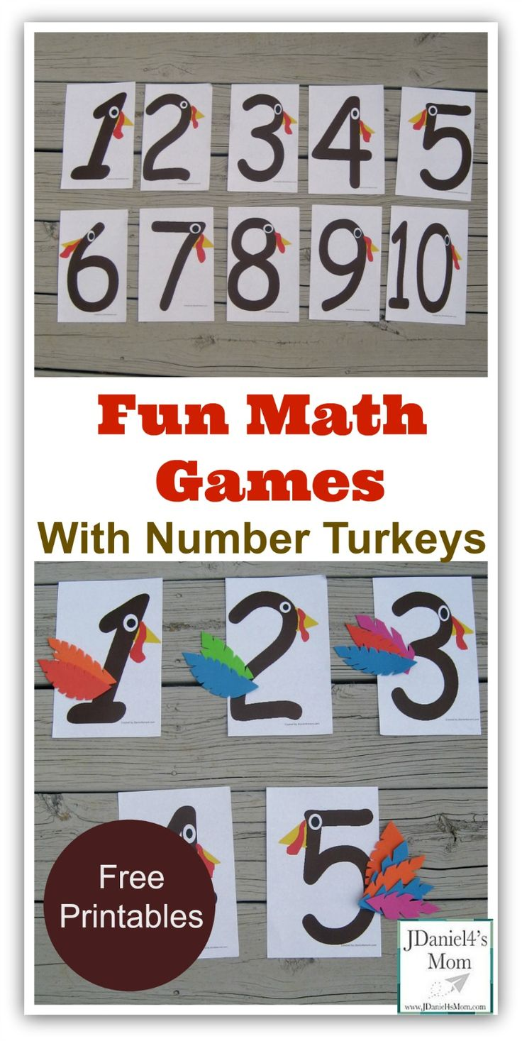 Printable number turkeys that can be used to play a variety of math games.