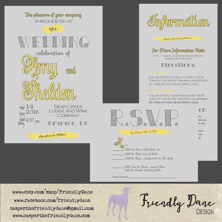 Custom Grey and Yellow Typography Wedding Suite by FriendlyDane on Etsy