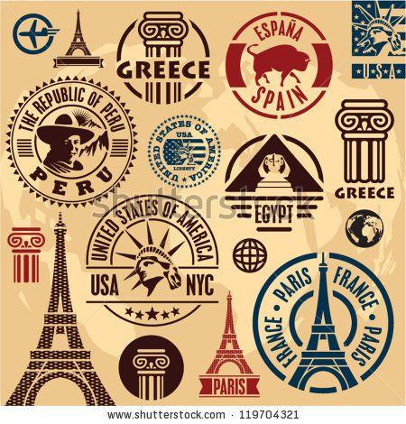 Sellos del recorrido. Conjunto de Iconos del viaje. Colección de Etiquetas de Viajes.