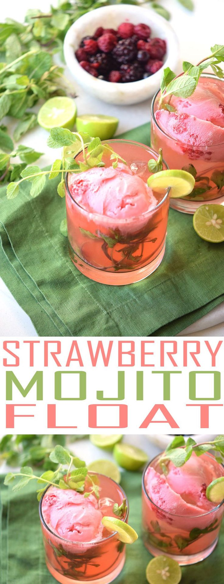 Try this fun cocktail float. This Strawberry Mojito Float is a refreshing alcoholic beverage perfect for sharing with friends or for an evening cocktail.
