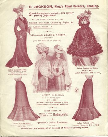 Women's Clothing at Jacksons, 1900-1910, Women's blouses, underskirts, coats and skirts at Jacksons, all of which were tailor-made