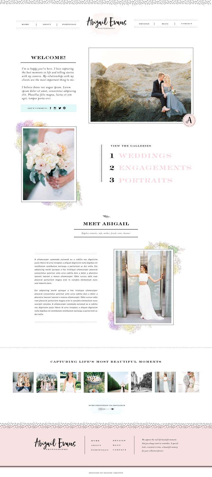 Abigail Showit 5 Website Design by Seaside Creative.   Whimsical, Bold, Approachable, Professional