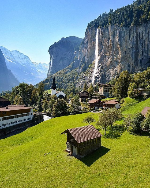 Valley of 72 waterfalls , Lauterbrunnen is situated in one of the most impressive trough valleys in the Alps, between gigantic rock faces and mountain peaks. With its 72 thundering waterfalls, secluded valleys, colourful alpine meadows and lonely mountain inns, the Lauterbrunnen Valley is one of the biggest nature conservation areas in Switzerland. #Switzerland_Vacations
