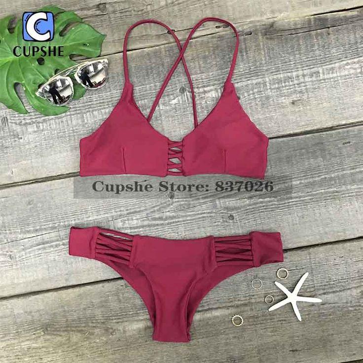 Cupshe 2016 Hot  Women's Burgundy Lace Up Padding Bikini Set Summer Sexy Swimsuit Ladies Beach Bathing Suit swimwear