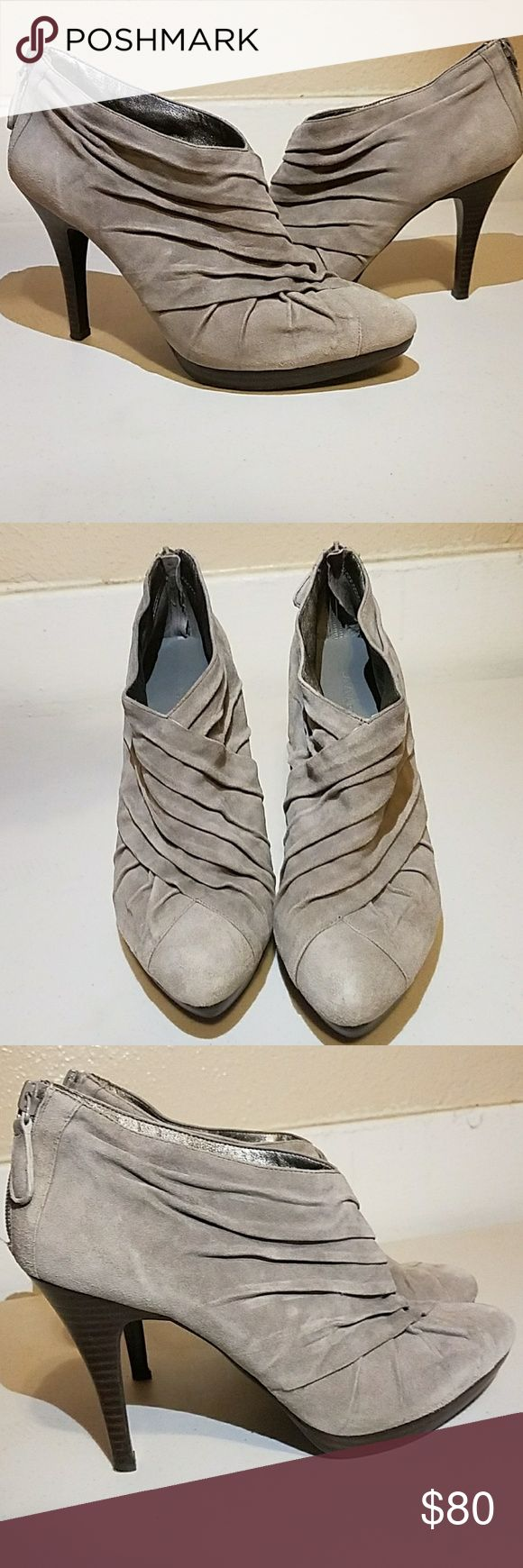 Banana republic brand new ankle suede heel booties Perfect condition!! Only tried on!! Nothing else!! They are SO comfortable!! But do not fit me,  i tried on at home and could not return. Banana Republic Shoes Ankle Boots & Booties