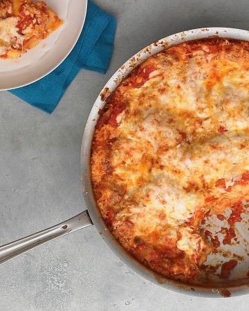 one-pot three-cheese skillet lasagna