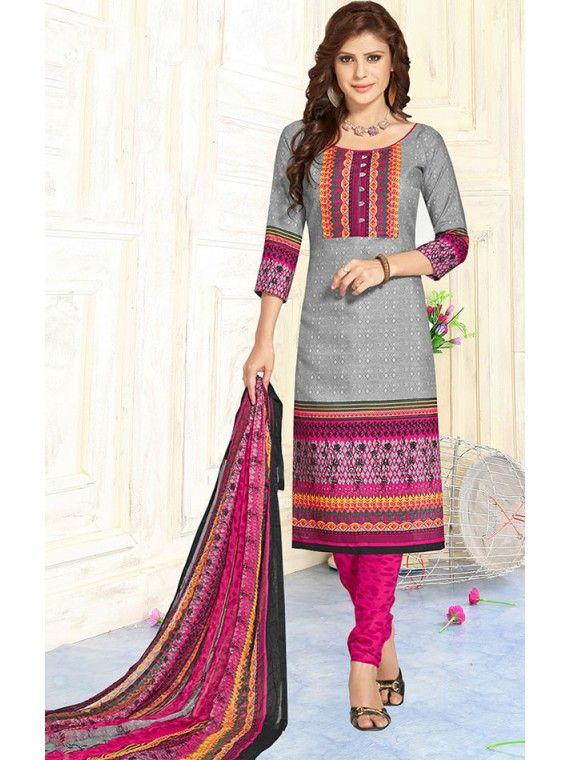 Glowing Beige Grey and Pink Online Printed Salwar Kameez