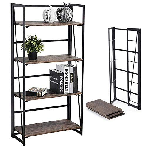 4-Tier Folding Ladder Bookshelf  Metal//Wood Vintage Bookcase Storage Shelf Rack