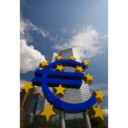 Sculpture of an Euro sign in front of a building Willy-Brandt-Platz European Central Bank Frankfurt Hesse Germany Canvas Art - Panoramic Images (25 x 36)