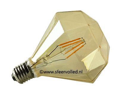 Diamant led lamp dimbaar Diamant vormige Led lamp D120-4W E27 amberkleur glas