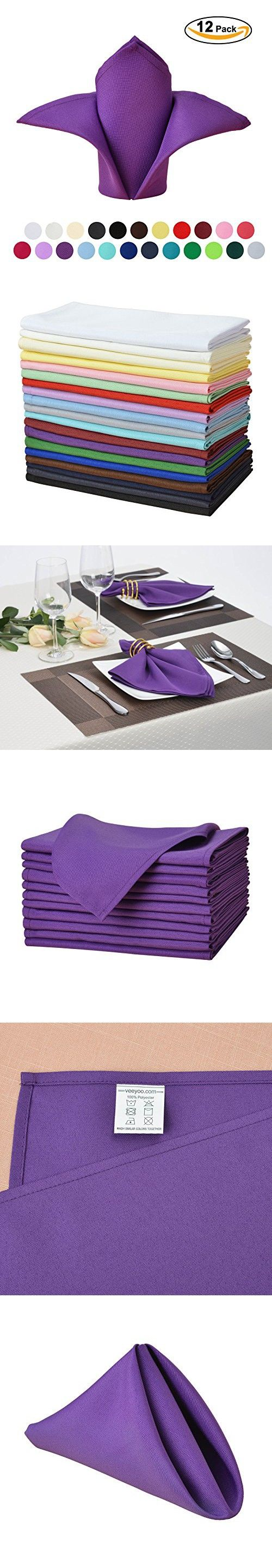 """VEEYOO Oversized 17x17"""" Solid Polyester Napkins for Wedding Restaurant Dinner Use Machine Washable Durable Set of 12, Purple"""