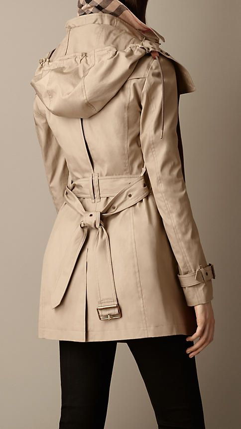 Burberry Short Hooded Trench Coat. I love/hate that I'm inserting function