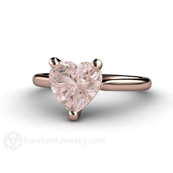 Morganite Ring Morganite Engagement Ring Heart Solitaire 14K White Yellow Rose Gold Palladium Gemstone Ring