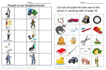 Community helpers, Cut and paste and Colors on Pinterest