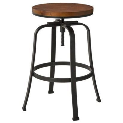Dakota Adjustable Stool $80 ea at Target.  Great for bar, counter height and work desk!  Will wear nicely.  Needs a bit of sanding though to give it character.