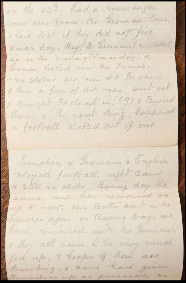 Staff sergeant Clement Barker sent the letter home four days after Christmas 1914 when the British and German troops famously emerged from the trenches in a Christmas truce ...