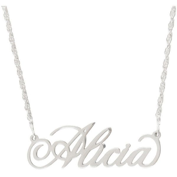 Sterlng Silver Personalized Name Necklace ($25) ❤ liked on Polyvore featuring jewelry, necklaces, silver jewellery, silver jewelry and silver necklace