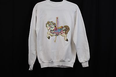 Jerzees Carousel Horse Women's Sweater - White/ Size Large  | eBay