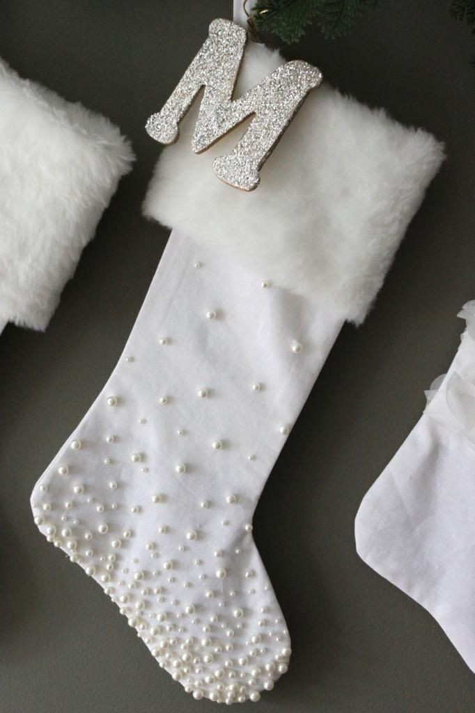Glue pearls on stockings to easily embellish.