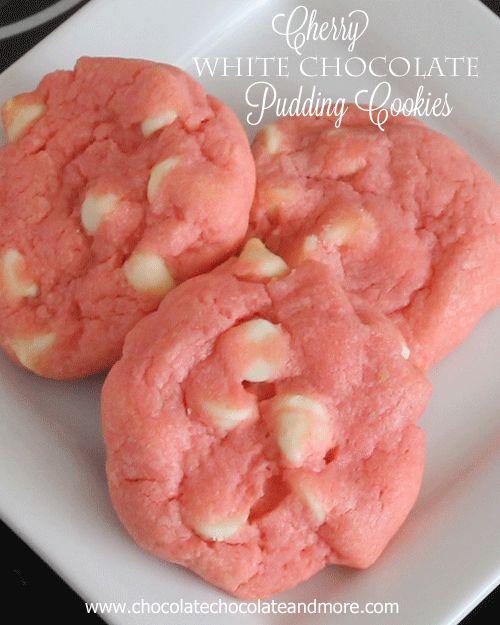 Cherry White Chocolate Pudding Cookies
