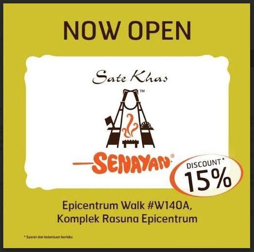 Diskon 15% Sate Khas Senayan Epicentrum Walk 22 Desember 2014 Sampai 21 Januari 2015