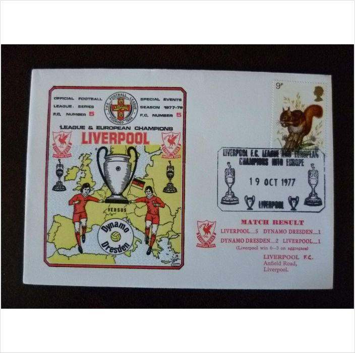 1977 Liverpool v Dynamo Dresden Dawn Football Cover 5 European Cup stamp map