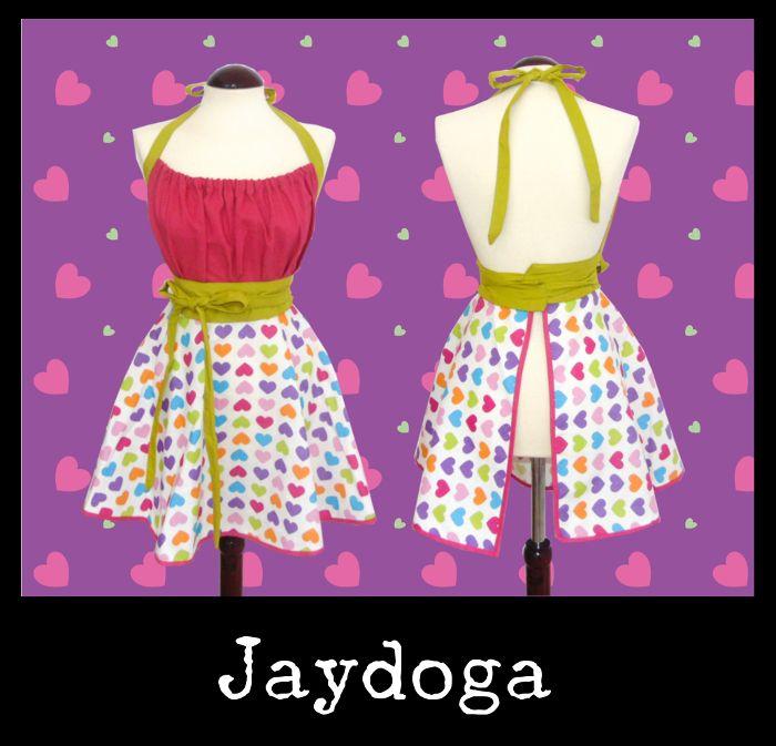 Delantales Vintage Jaydoga, elegantes, divertidos y originales! Delantal vintage Showy Hearts