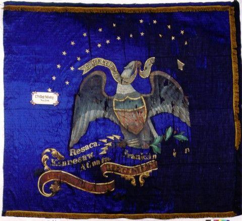 129th Indiana Infantry Civil War Regimental Battle Flag.