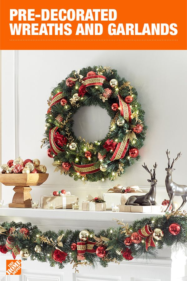 Whether your style is simple and classic or over-the-top festive and fun, there's a quick and easy way to get your perfect holiday look with realistic faux greenery. Go natural with pinecones and berries or bring the holiday glam with sparkling colored Christmas balls. Click to shop pre-decorated wreaths and garlands.