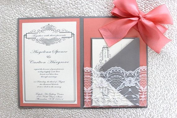 Grey Coral Lace Wedding Invitation by AlexandriaLindo on Etsy | I Just Love Weddings | Pinterest ...