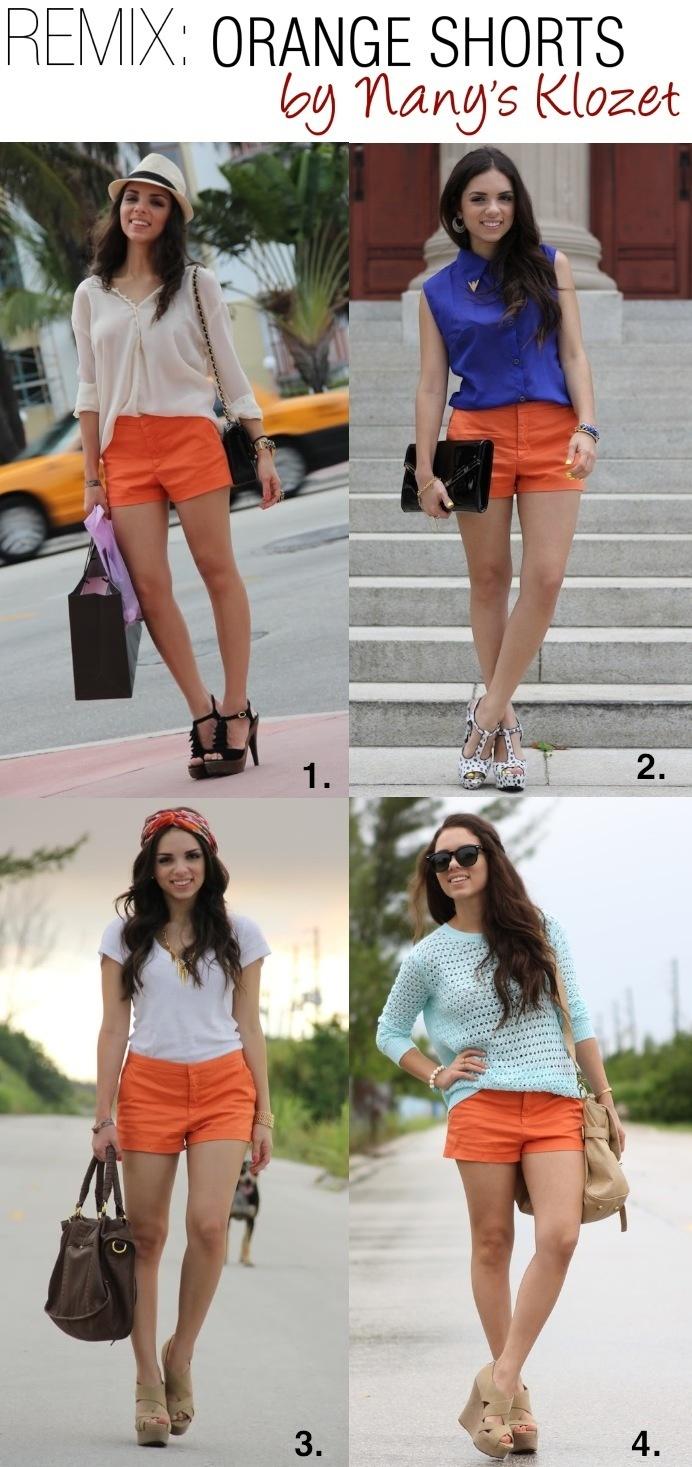 REMIX: 4 ways to wear orange shorts!